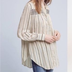 Anthro Floreat Striped Long Blouse